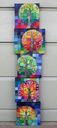 tekenen - boom met vierkanten als achtergrond