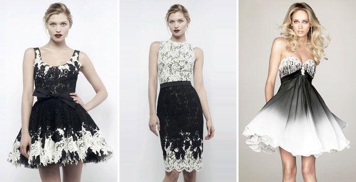 Черно белые свадебные платья - модели 2016 года и аксессуары к ним с фото