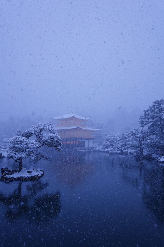 Snow in Golden Pavilion Temple(Kinkaku-ji Temple ), Kyoto, Japan