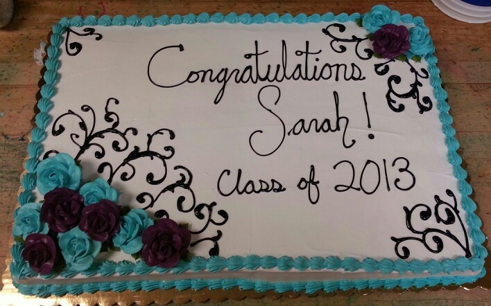Design Your Own Sheet Cake : Very specific graduation sheet cake I made. Teal and ...