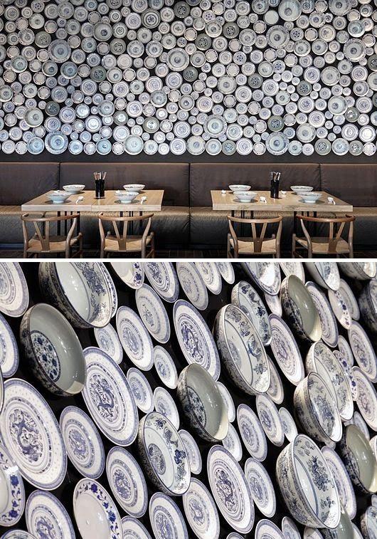 Art wall with plates cocina del charro pinterest for Innendekoration restaurant