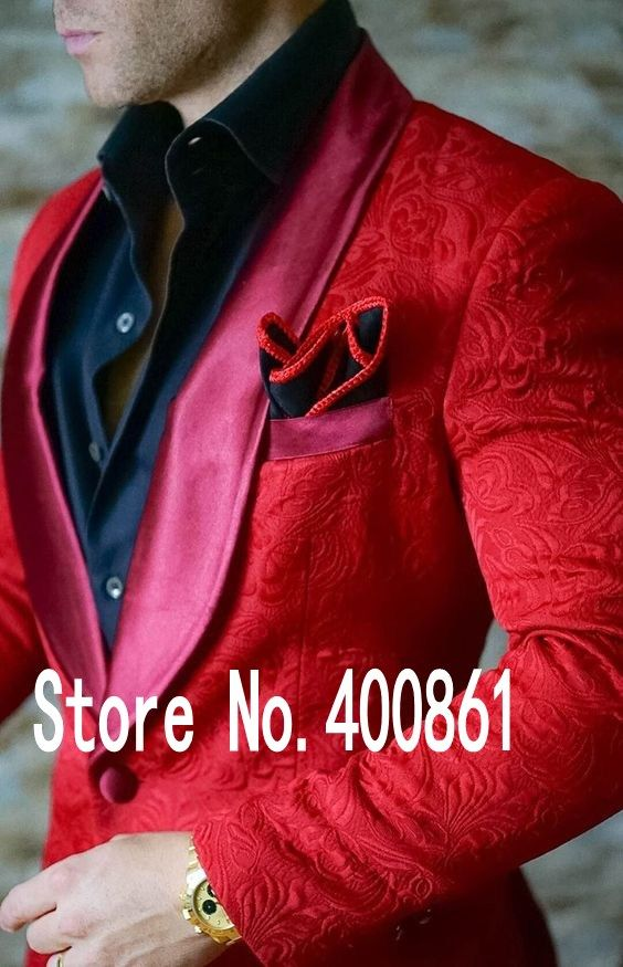 >> Click to Buy << High Quality Red Paisley Mens Suits Groom Tuxedos Groomsmen Wedding Party Dinner Best Man Suits (Jacket+Pants+Tie) K:2235 #Affiliate