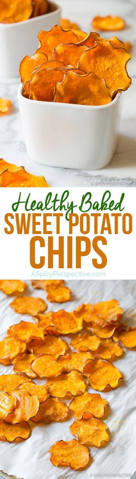 Healthy 3-Ingredient Baked Sweet Potato Chips Recipe (Vegan, Paleo & Gluten Free!) | ASpicyPerspective...
