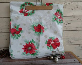 Holiday Tablecloth Vintage Table Linens Christmas Candles