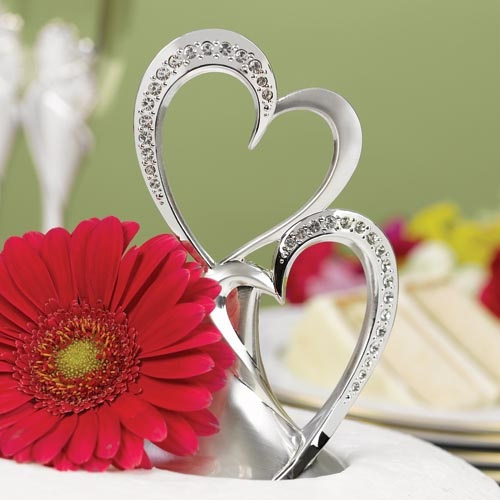 Silver Rhinestone Double Hearts Cake Topper by Beau-coup