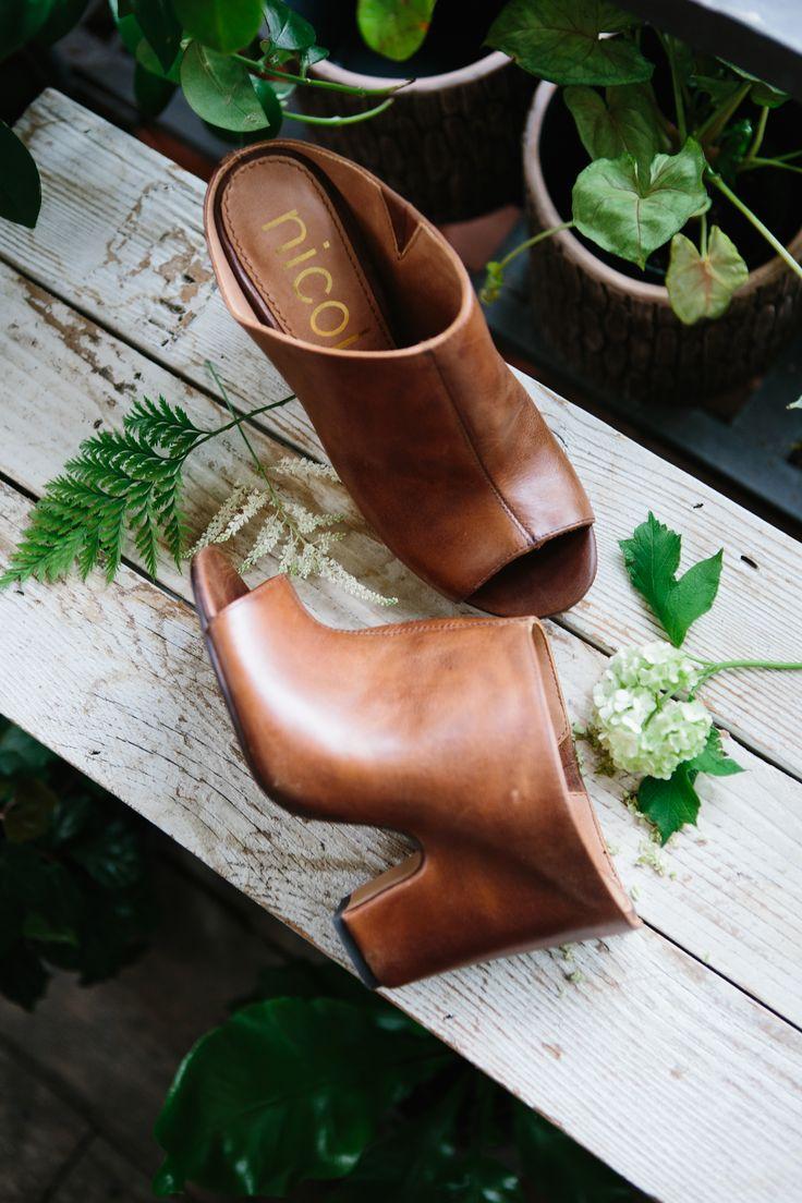 Tobacco Brown Leather Peep Toe Mules lilyandviolet.com