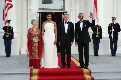 Ho Ching, Michelle Obama, Prime Minister Lee Hsien Loong of Singapore, and Barack Obama