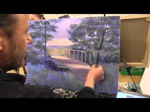 Научиться рисовать лес, деревья,курсы живописи маслом, Сахаров - YouTube
