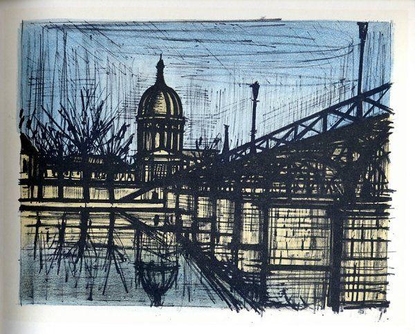 Bernard BUFFET : Paris : Le Pont des Arts, 1967