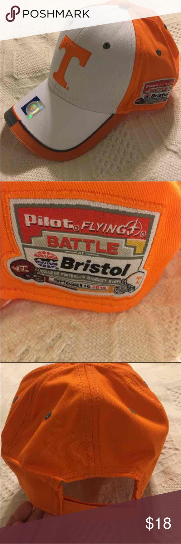 NWT Tennessee Volunteers Battle at Bristol Hat Tennessee Volunteers Battle at Bristol Hat. Brand new, never worn. Commemorative hat from college football's largest football game ever. Game played at Bristol Motor Speedway between University of Tennessee Volunteers and Virginia Tech Hokies. Unisex hat, 100% cotton, one size fits most. Adjustable Velcro closure. Accessories Hats
