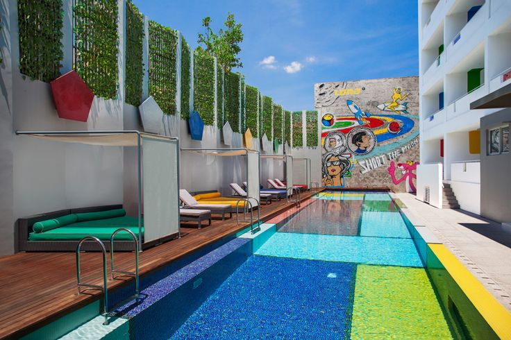 Mondrian-ic pool. Luna2 studiotel, Bali. Architecture design by Melanie Hall