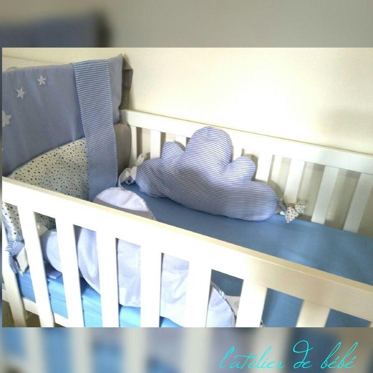 Tour de lit nuages  Lit 60*120 70*140  Nuage bébé bleu gris garçon etoiles