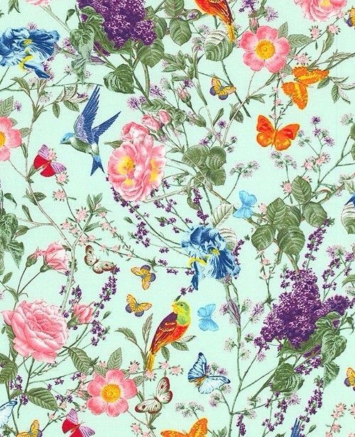 Wallpaper for powder room.  Floral Butterfly Bird Fabric  At the Conservatory Michael Miller Designer Cotton