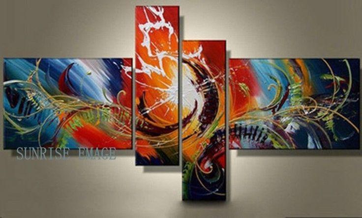 4pc/set Pintados A Mano Moderno Abstracto Pintura al óleo sobre lienzo Pared Decoración Sin Marco
