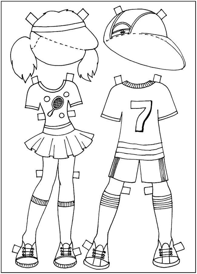 раскрашки Куклы-вырезалки, форма для игры в теннис ...
