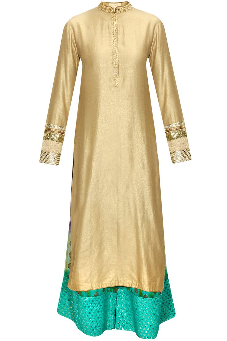 Gold embroidered kurta with aqua tie-dye pants by Vikram Phadnis.