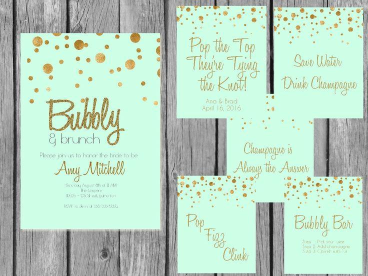 Printable Champagne bridal shower bundlemint and gold bridal brunch bundle