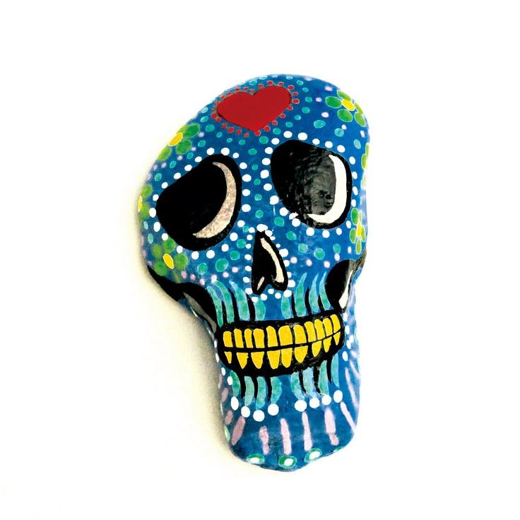 Blue Dia De Los Muertos Skull Paperweight -Hand Painted Stone.