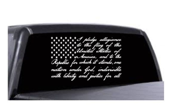 Pledge of Allegiance American Flag car decal by HopeandHibiscus