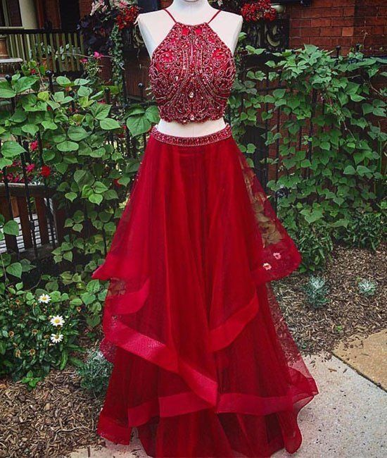 Two Piece Prom Dress,Red Prom Dress,Backless Evening Dress,Long