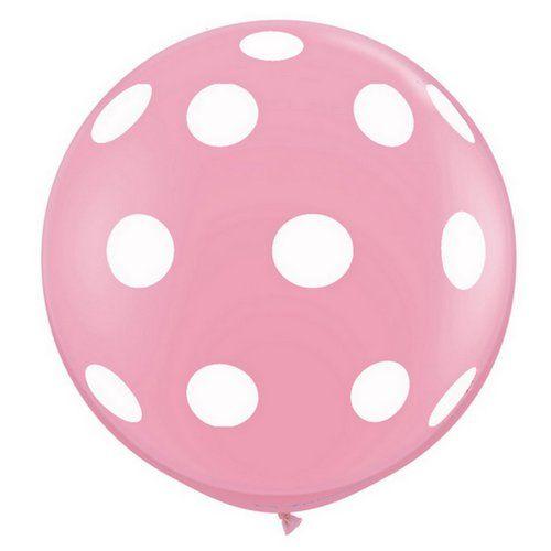 "36"" Round Polka Dot Balloon - Light Pink"