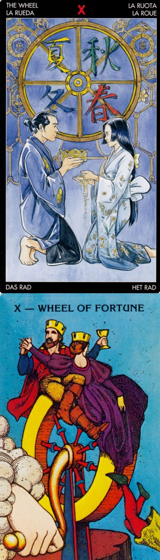 WHEEL OF FORTUNE: inevitability and series of bad events (reverse). Manga Tarot deck and Morgan Tarot deck: free one card tarot reading, online tarot prediction vs tarot reading near me. Best 2017 fortune telling cards and tarot art nouveau.