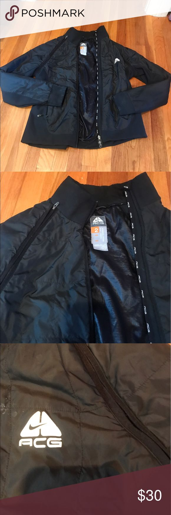 Women's jacket Great used condition womens therma- fit jacket size large by ACG. therma fit with plenty of pockets and zip- up front. Zipper on sleeves that come off to make it into a vest as well! Nike ACG Jackets & Coats