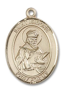 St isidore of seville patron saint medal 14kt yellow gold large