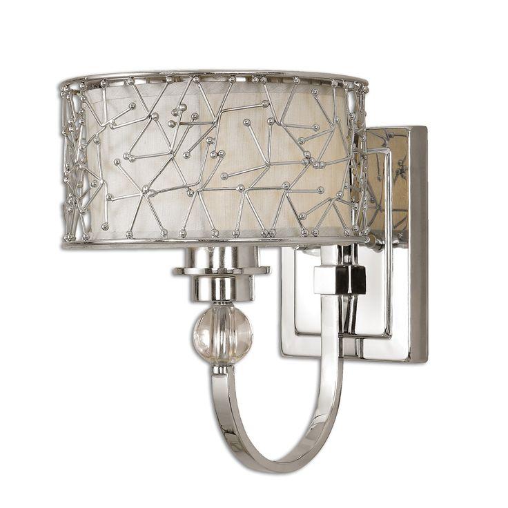 Прекрасное элегантное бра в серебряной отделке. Рассчитано на 60W.             Материал: Металл.              Бренд: Uttermost.              Цвета: Светло-серый, Серый.