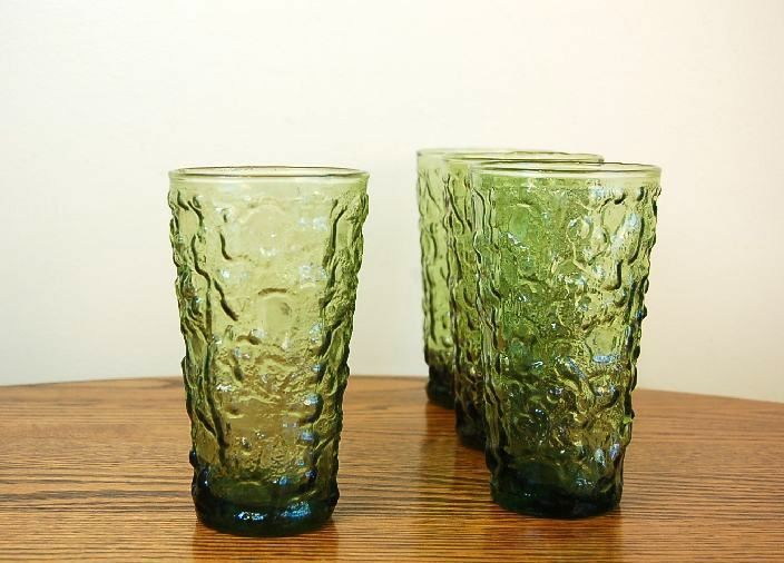Vintage Anchor Hocking Lido Green Drinking Glasses: Set of Four