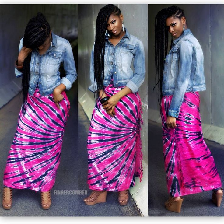 The AFRI TIE DYE SARONG SKIRT/HEADWRAP in HAUTE PINK & INDIGO -paired with HAVANA TWISTS! Find both @ FINGERCOMBER.COM!