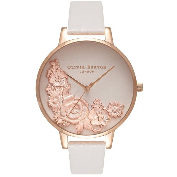 Olivia Burton Moulded Floral Bouquet Watch - Blush & Rose Gold (€160) ❤ liked on Polyvore featuring jewelry, watches, flower watches, red gold jewelry, pink gold jewelry, dial watches and rose gold jewelry