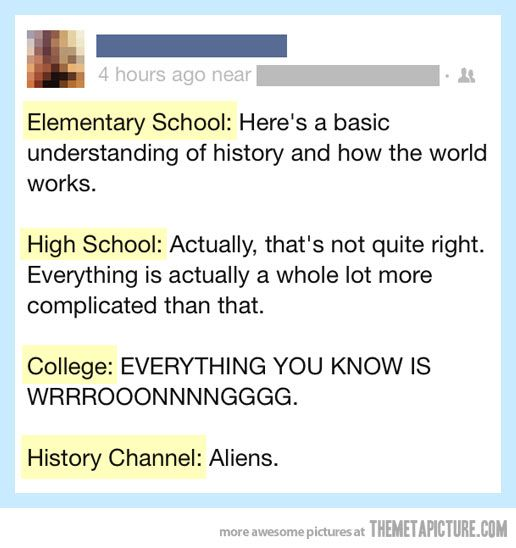This is SO true, omg.  And I still can't believe they don't open your eyes to perspectives other than the white American one until you get to college!  Think of all the people who never go to college!  I feel like if they taught the sorts of things I'm learning now about diversity and other perspectives to kids in high school, people in general would be a lot more open-minded.