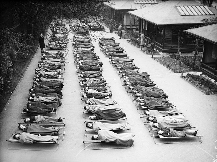 Children with tuberculosis sleep outside at Springfield House Open Air School in London in 1932. Like sanatoriums, these schools offered TB sufferers a place to receive the top treatment of the day: fresh air and sunshine. [We really, really do not want epidemics of multi-drug resistant TB.]