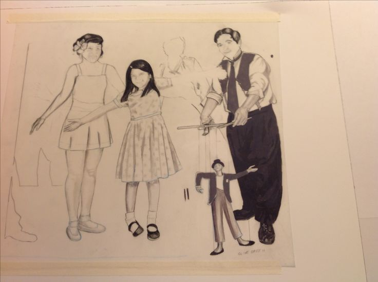 Carolyn Dee Flores - Photo of partial drawing (pencil) study for THE CIRCUS