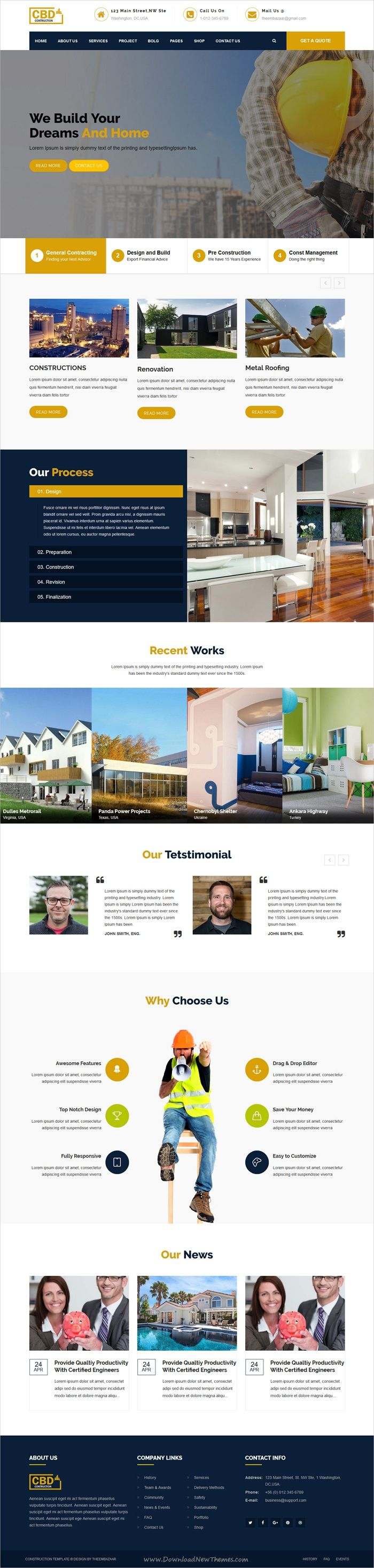 Construct is clean and modern design 5in1 responsive #bootstrap template for #construction and #architecture company website download now..