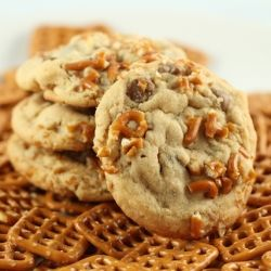 Peanut butter, pretzel and chocolate chip cookies.