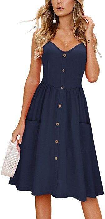 de48ab222c5e KILIG Women s Summer Dress Spaghetti Strap Button Down Sundress with  Pockets(Navy