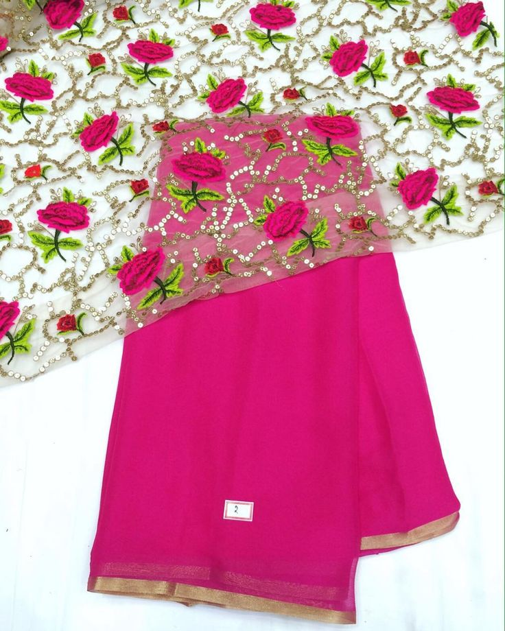 """Pink chiffon saree with heavy fancy emboridery blouse piece To purchase mail us at houseof2@live.com  or whatsapp us on +919833411702 for further detail…"""