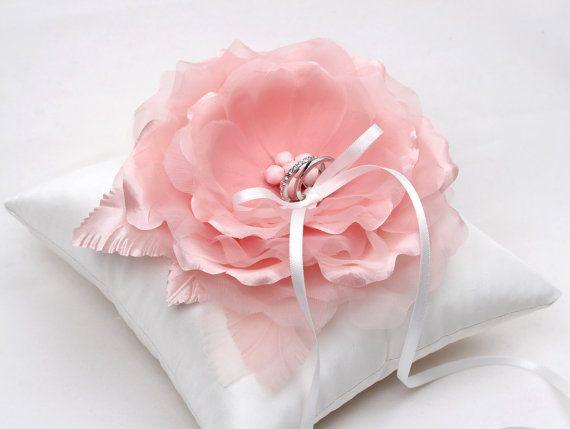 Wedding ring pillow  pink ring pillow off white ring di mirino