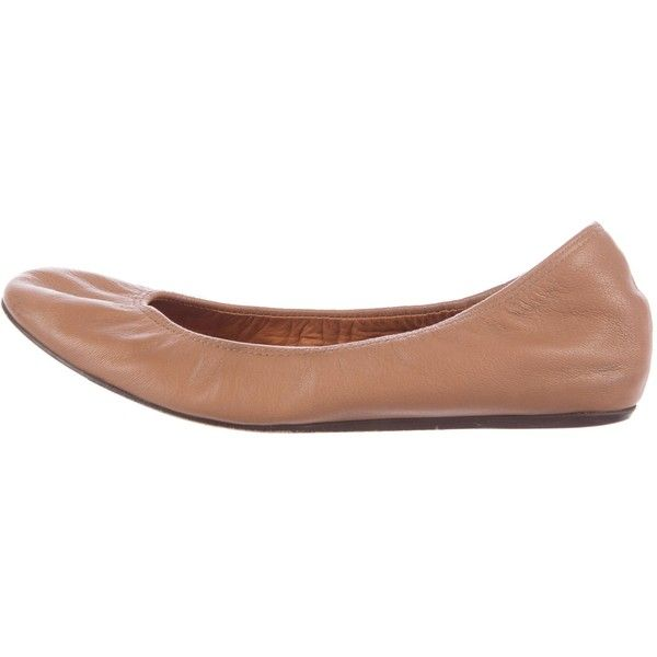 Pre-owned Lanvin Leather Round-Toe Flats ($85) ❤ liked on Polyvore featuring shoes, flats, brown, ballet shoes, round toe flats, leather ballet flats, ballet flats and brown flat shoes