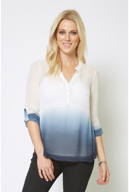 Ombre Button Back Shirt