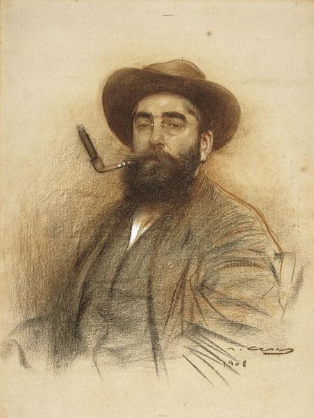 Ramon Casas i Carbó - Self-portrait 1908 Unique smoking arrangement!