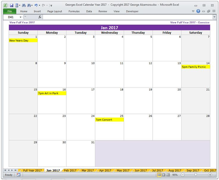 Year  Calendar In Excel Full Year  Calendar  Monthly