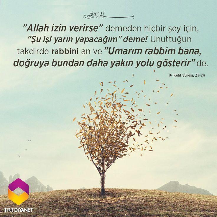 """Allah izin verirse"""" demeden hiçbir şey için, """"Şu işi yarın yapacağım"""" deme! Kehf Sûresi, 23-24 #birayet"""