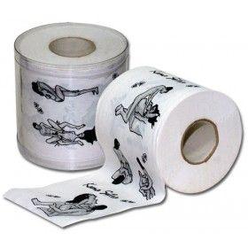 Per chi ama curare tutti, ma proprio tutti, i propri momenti d'intimità. Simpatico rotolo di carta igienica, doppio velo, con raffigurate alcune posizioni tratte dal Kamasutra.