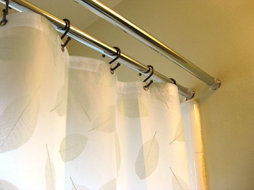 My double shower curtain and towel rod - much cheaper and easier than the ones at stores