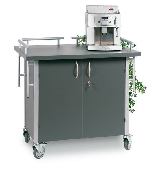 Service- und Kaffeestation Gestell: Stahl/ silber, Holz: anthrazit Maße: 1040x625x1050mm
