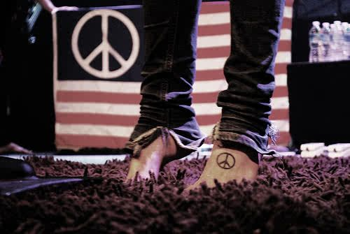 Tattoos + simple + peace sign + feet + Christofer Drew + Never Shout Never