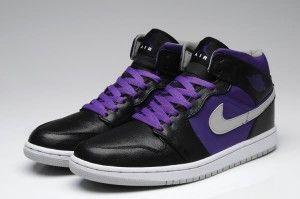 cheap Mens nike air jordan 1 black purple shoes online uk sale